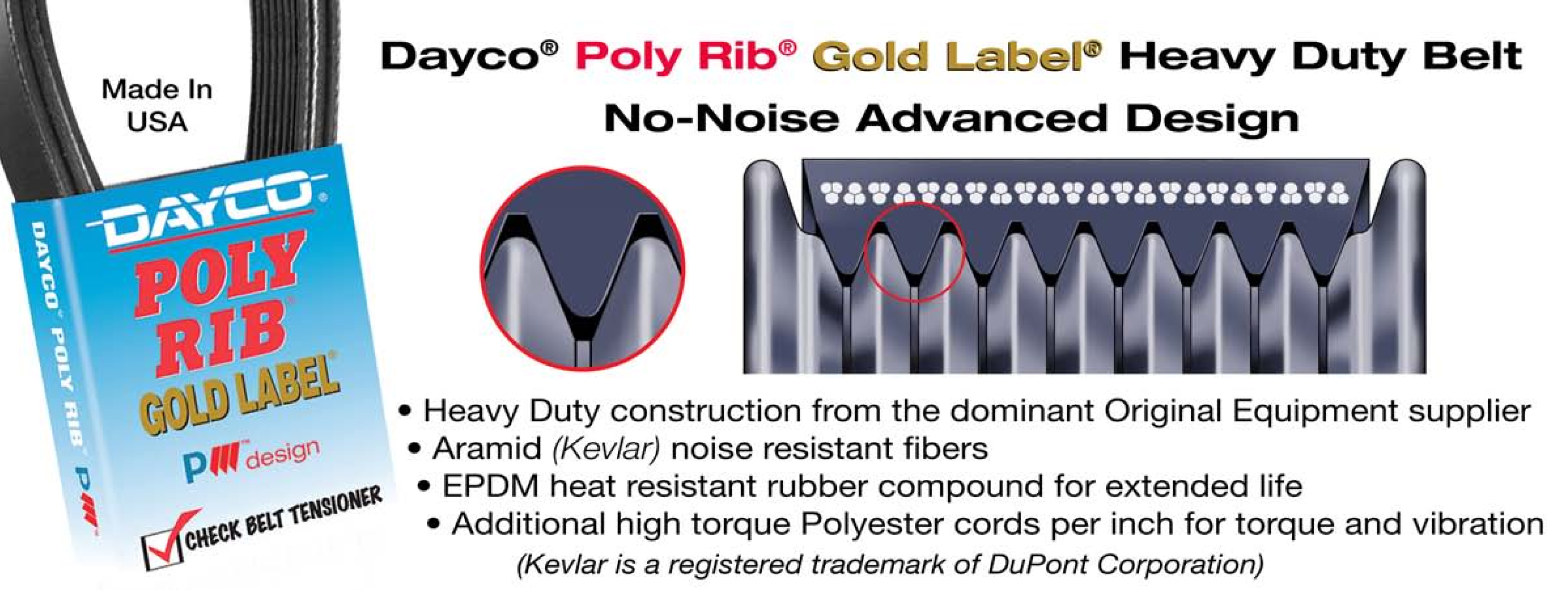DAYCO 5080415 Poly Rib GOLD LABEL Belt