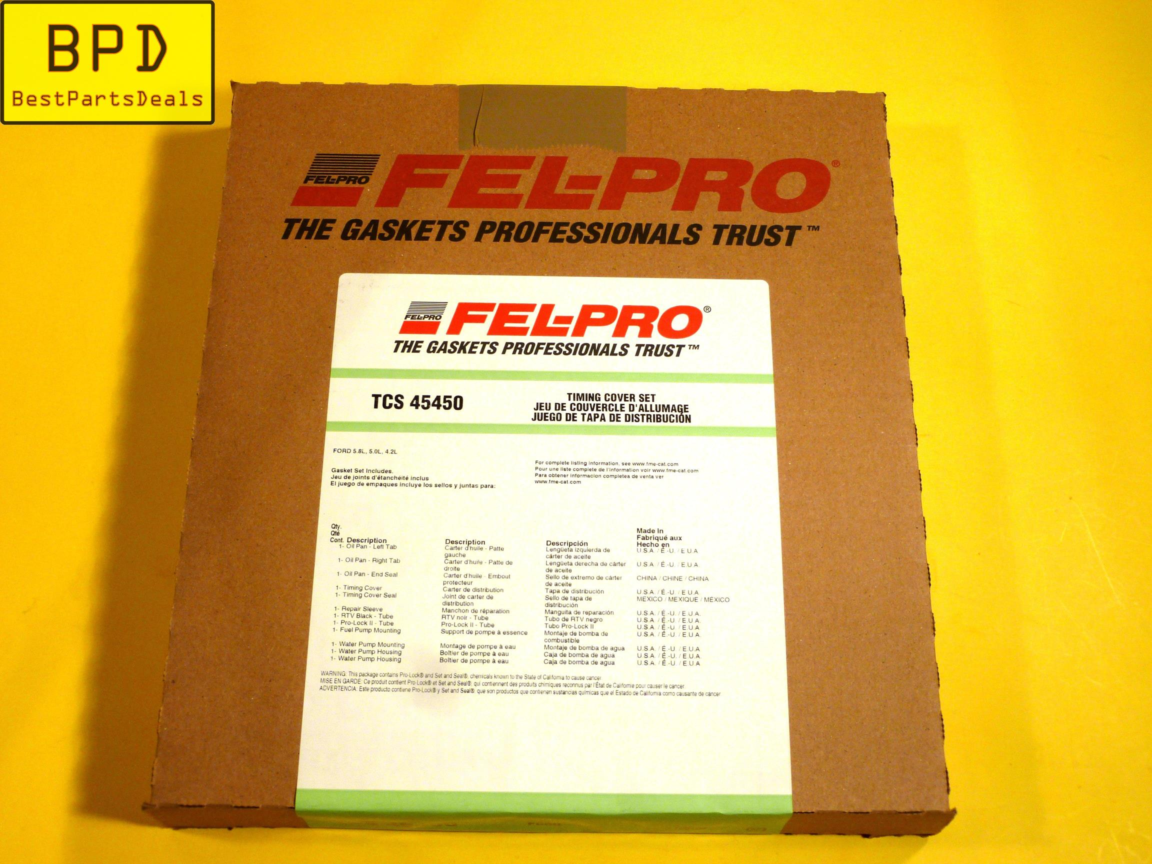 Engine Timing Cover Gasket Set Fel-Pro TCS 45450